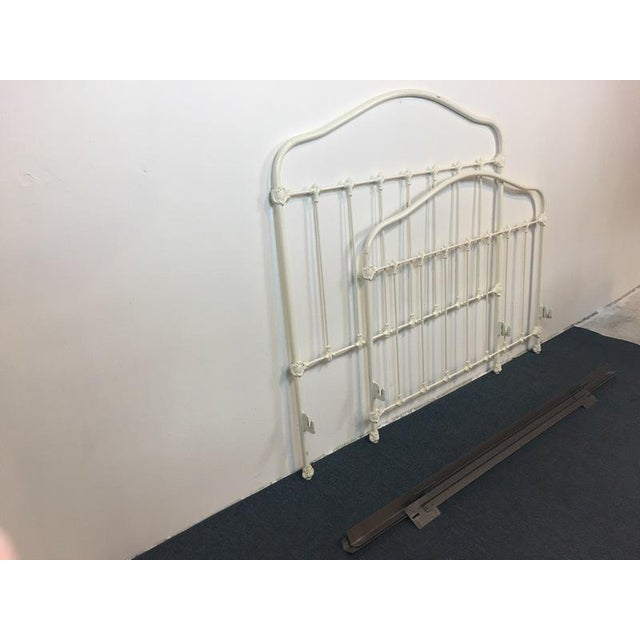 vintage white painted metal full size bed frame chairish. Black Bedroom Furniture Sets. Home Design Ideas