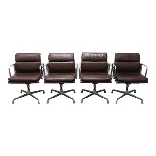 1970s Vintage Herman Miller Leather Soft Pad Management Chairs- Set of 4 For Sale