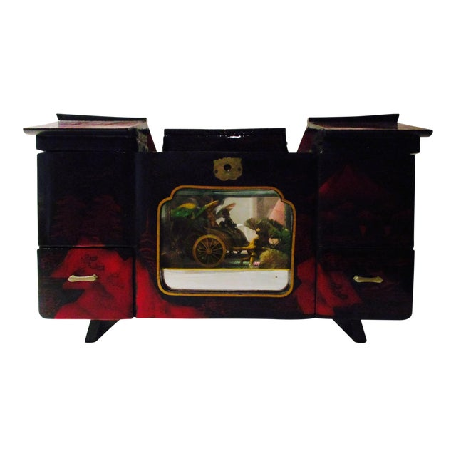 Asian Black Lacquer Jewelry Music Box - Image 1 of 11