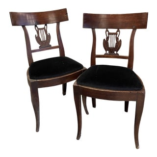 French Directore Slip Seats with Velvet - a Pair For Sale