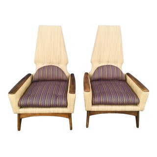 1960s Vintage Adrian Pearsall Style Kroehler High Back Lounge Chairs- A Pair For Sale