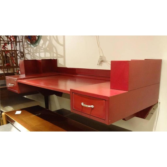 Jean Prouve and Jules Leleu Metal Wall-Mounted Desk, France Circa 1936 For Sale - Image 9 of 10