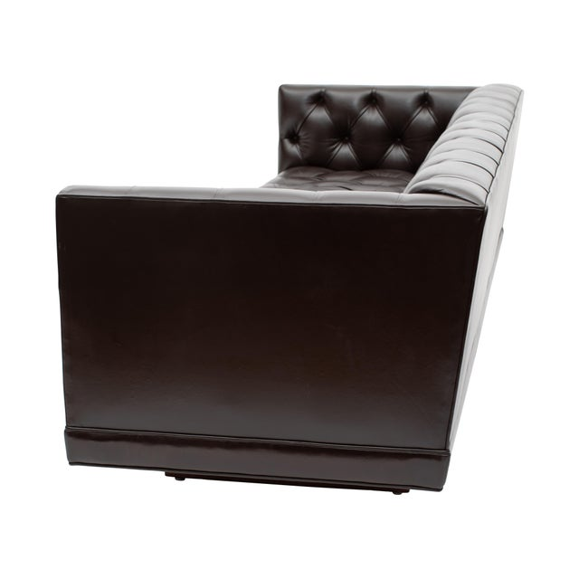 Mid-Century Modern Ward Bennett Button-Tufted Leather Sofa for Lehigh Furniture, Circa 1960s For Sale - Image 3 of 13