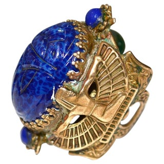 20s Egyptian Revival Scarab Isis Ring For Sale