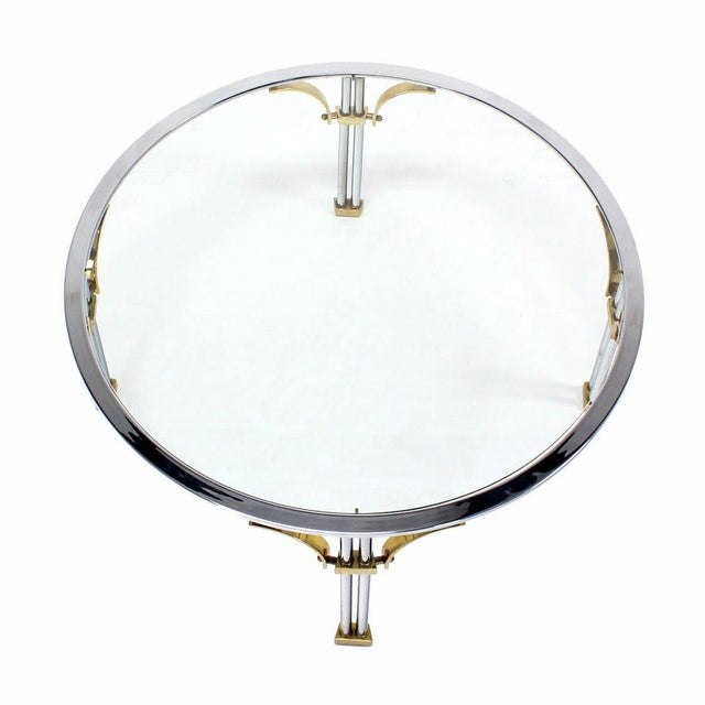 Silver Mid-Century Modern Chrome Brass and Glass Round Coffee Table For Sale - Image 8 of 10
