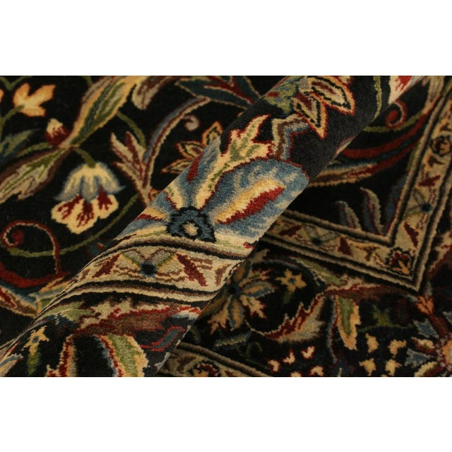 Abusson Pak-Persian Mina Black/Blue Wool Rug - 4'2 X 6'2 For Sale - Image 4 of 8