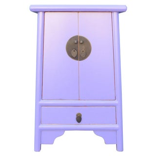 Chinese Pastel Purple A Shape Nightstand