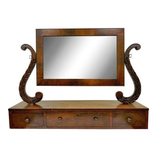 19th C. American Empire Carved Mahogany Shaving Vanity Mirror