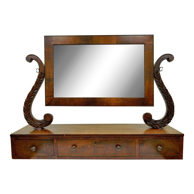 19th C. American Empire Carved Mahogany Shaving Vanity Mirror For Sale