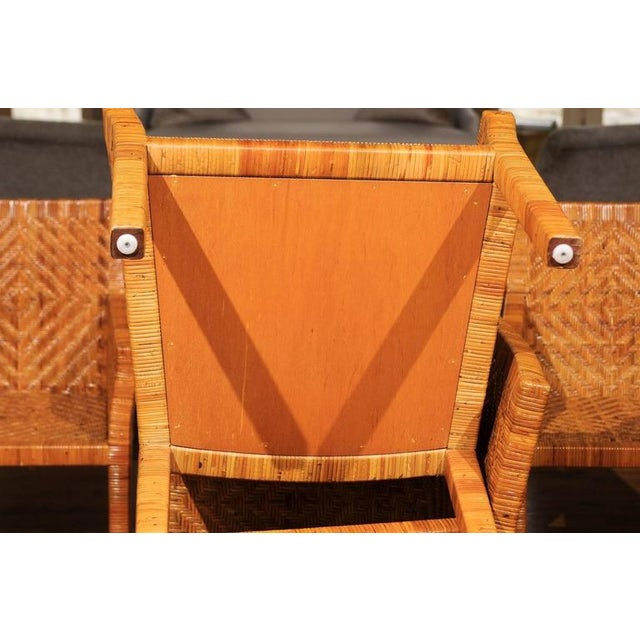 Rattan Terrific Restored Set of Six Cane Chairs in the Style of Jean-Michel Frank For Sale - Image 7 of 11
