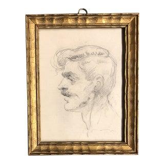 Vintage Original Miniature Male Portrait Charcoal Study Drawing 1930's For Sale