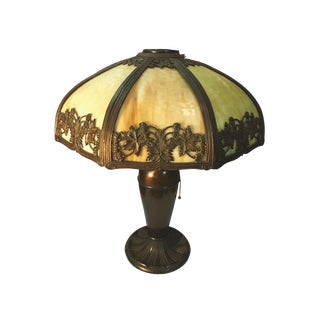 E. Miller Lamp Co. Arts & Crafts Slag Glass Table Lamp