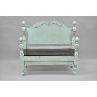 1900s Shabby Chic Mint Wood Foyer/Entry Bench Preview