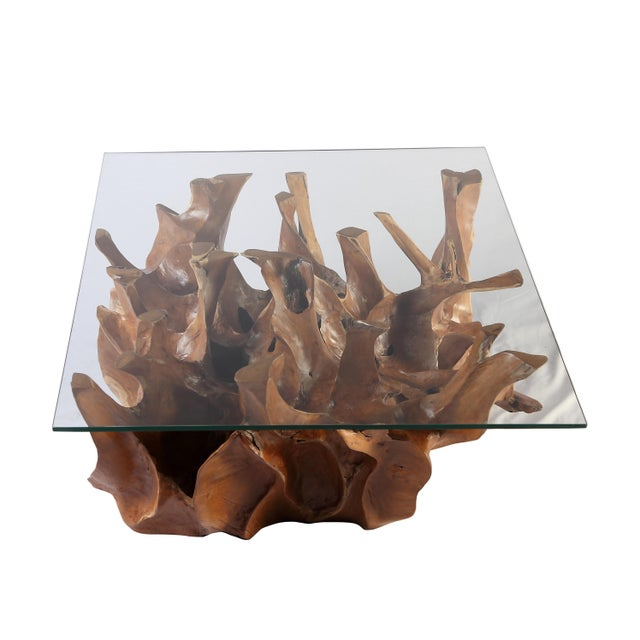 Contemporary Organic Modern Sculptured Square Teak Root Coffee Table Base For Sale - Image 3 of 4