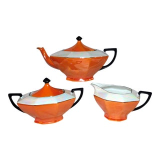 1940s Victoria China Tea Set - Set of 3 For Sale