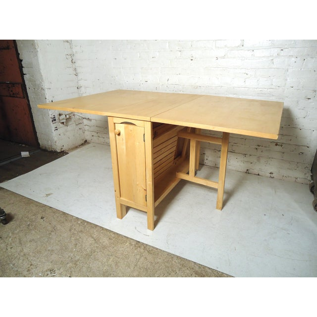 Yellow Mid-Century Modern Drop Leaf Table For Sale - Image 8 of 9