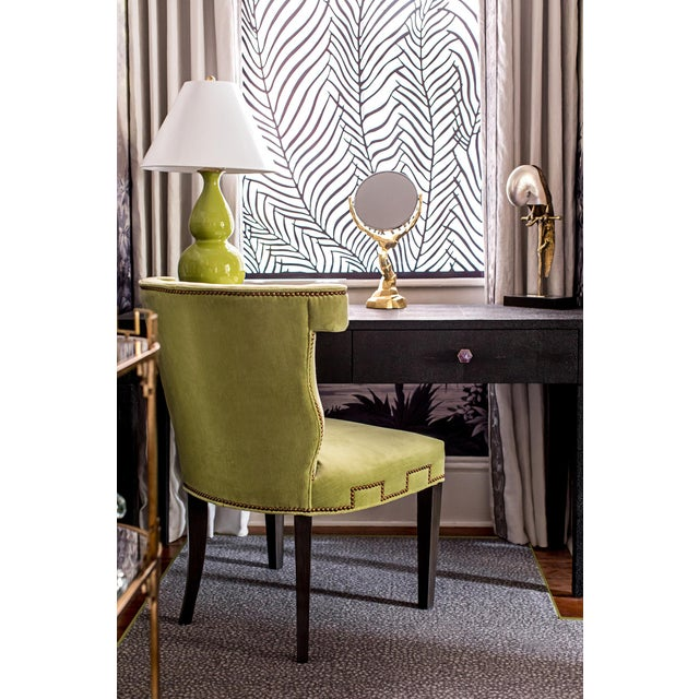 Hollywood Regency Modern Hollywood Regency Style Chartreuse Accent Chair For Sale - Image 3 of 5