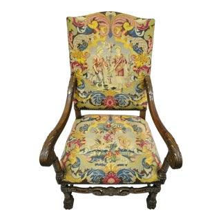 19th Century Vintage French Renaissance Needlepoint Upholstery Carved Walnut Throne Arm Chair For Sale