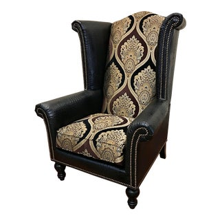 Henry Link Trading Co. Embossed Alligator Skin Leather Wingback Chair For Sale