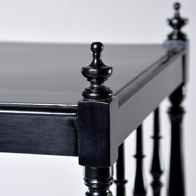 Metal 1930s English Narrow Ebonised Mahogany Etagere on Casters For Sale - Image 7 of 12