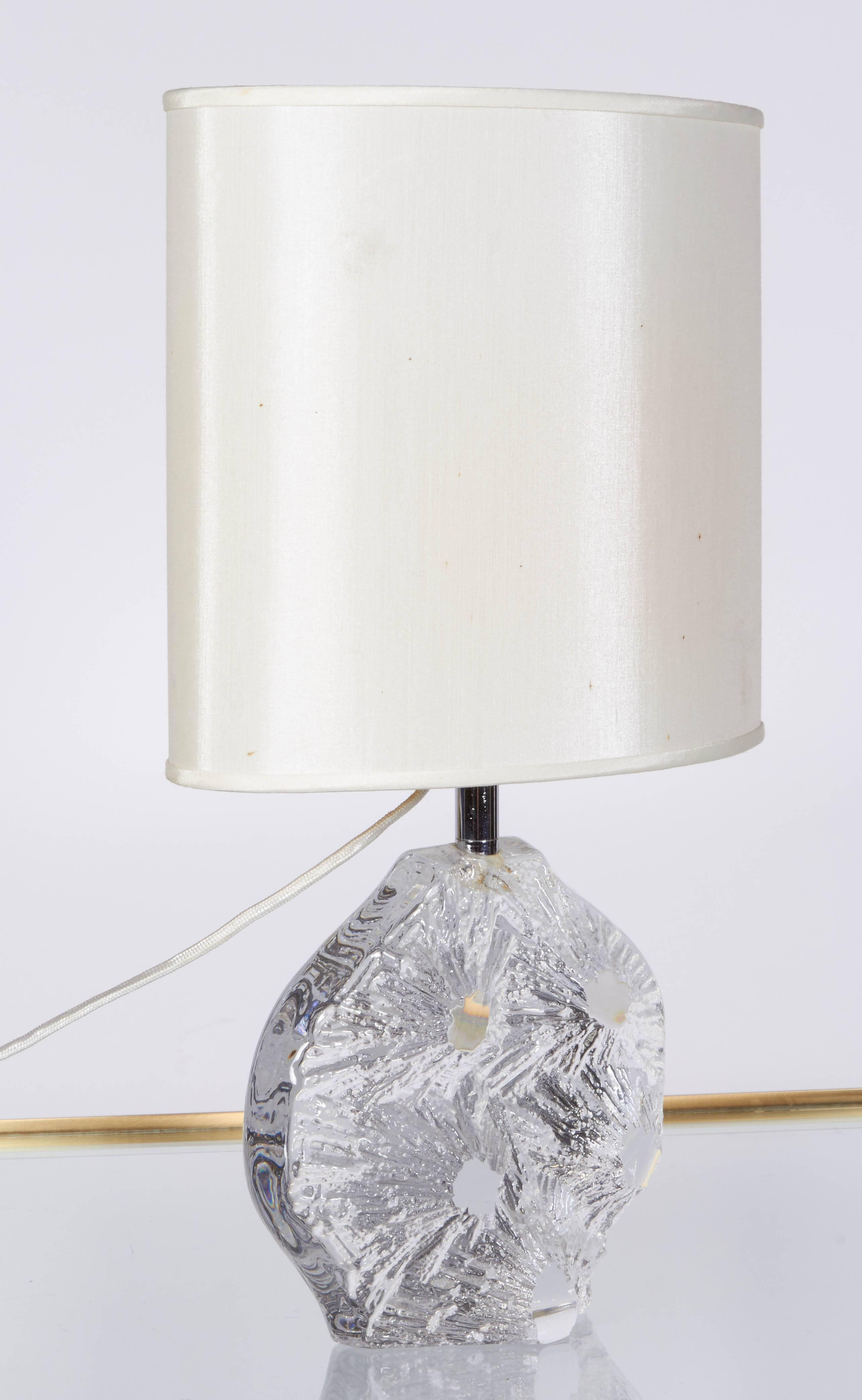 1970s Daum France Abstract Crystal Base Table Lamp Chairish