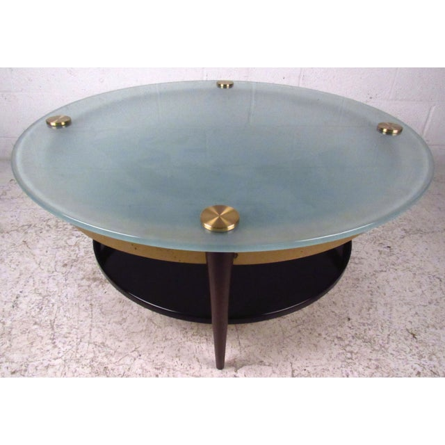 Mid-Century Floating-Top Glass & Brass Coffee Table - Image 3 of 9