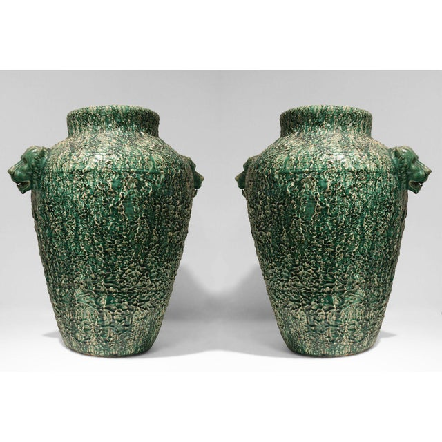 American (Ohio) Art Deco (C.1920-30) Over Size Green Ceramic Urns- A Pair For Sale - Image 4 of 4