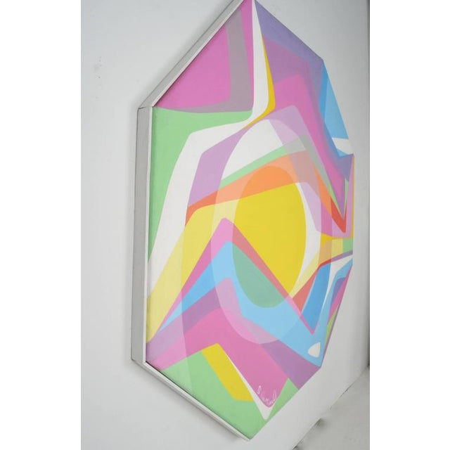 1970s Octagonal Abstract Oil on Canvas - Image 5 of 7