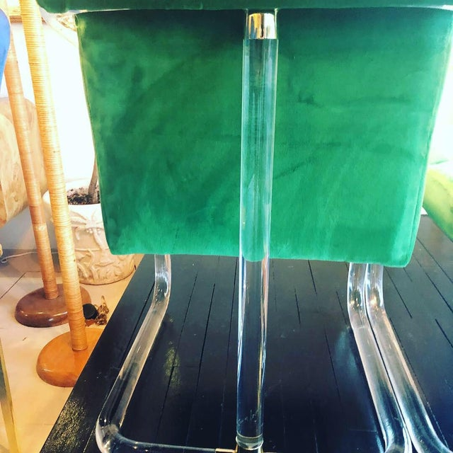 Metal Vintage Signed Lion in Frost Hollywood Regency Lucite Brass Emerald Green Velvet Arm Chairs- A Pair For Sale - Image 7 of 13