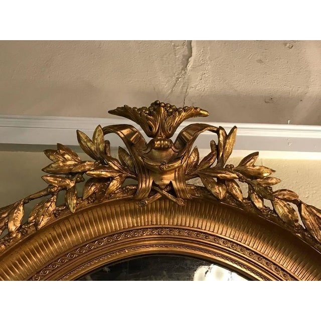 Gold 19th Century Oval Gilt Wood Mirrors - a Pair For Sale - Image 8 of 10