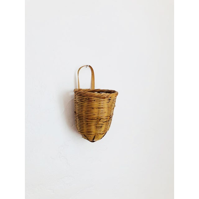 Wicker Vintage Wicker Wall Pocket Vase For Sale - Image 7 of 7