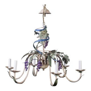 Mid-Century French Country Thompson Trompe l'Oeil Grape Toleware Chandelier