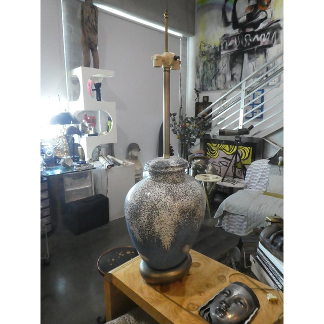 1960s Huge Bulbous Mid-Century Modern Volcanic Glaze Table Lamp For Sale - Image 4 of 8