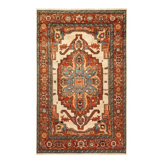 One-Of-A-Kind Oriental Serapi Hand-Knotted Area Rug, Crimson, 6' 0 X 9' 6 For Sale