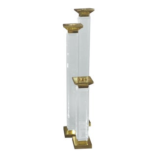 Tall Lucite and Brass Candleholders by Charles Hollis Jones, Signed - Set of 3 For Sale