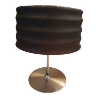 1970s Mid-Century Modern Italy Steel Table Lamp With Glass Shade For Sale