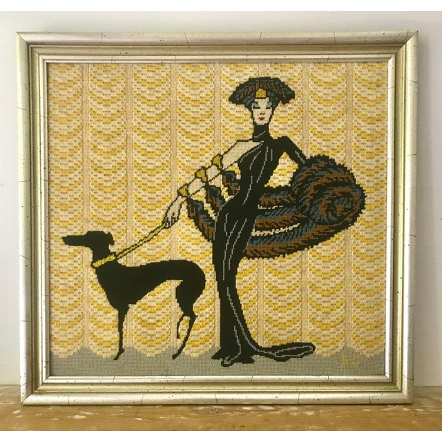 Metal Vintage Wall Art Needlepoint Erte's Symphony in Black or Gloria Swanson? For Sale - Image 7 of 7