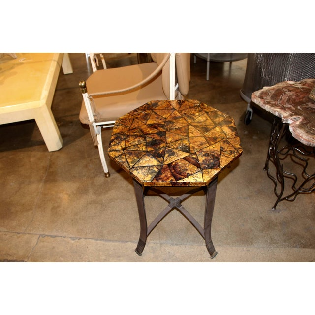 Kreiss Collection Coconut Shell Octagon Top Table For Sale - Image 9 of 9
