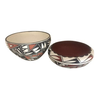 Akoma Pottery Bowls - a Pair For Sale