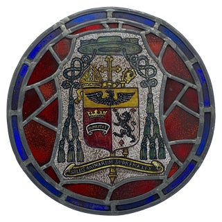 "19th Century Stained Glass and Lead ""Salus Animarum Suprema Lex"" Crest Window For Sale"