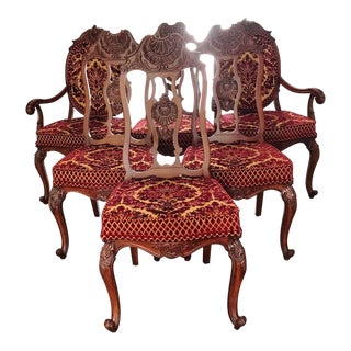 1980s Vintage French Style Victorian Dining Room Chairs- Set of 6 For Sale