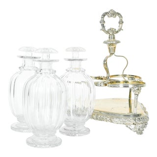 Old English Sheffield Silver Plated Decanter Bottles & Caddy - Set of 4 For Sale