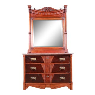 Antique 1870s Victorian Carved Walnut and Rosewood Marble Top Chest of Drawers With Mirror For Sale