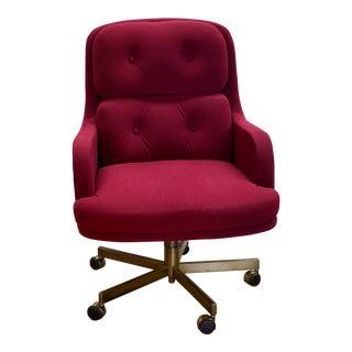 1960s Mid Century Modern Burgundy Desk Chair For Sale