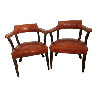 Vintage Nailhead Trimmed Accent Chairs - A Pair
