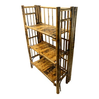 Tall Vintage Tortoise Bamboo 3-Tier Free-Standing Shelves || French Victorian Folding Bookshelf | Boho/Chinoiserie Chic Storage and Display For Sale