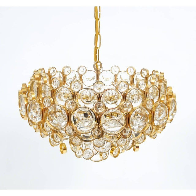Large Gold Palwa Brass and Glass Chandelier Lamp, Germany 1960 For Sale - Image 6 of 9