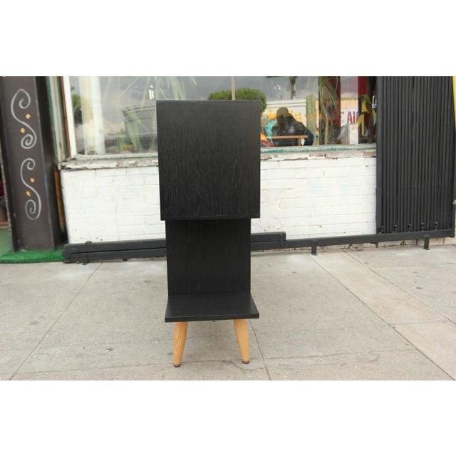 Mid-Century Modern Ebonized Oak Zig-Zag Bookcase For Sale - Image 4 of 13
