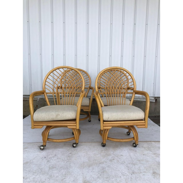 Vintage Glass Top Rattan Table and Wheeled Chairs Set - Set of 5 For Sale - Image 4 of 13