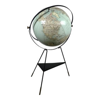 C.S. Hammond & Co. 1950s Inflatable Globe on Aubock Style Tripod Stand For Sale